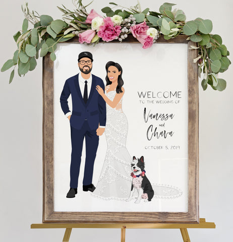 Miss Design Berry Sign Full Portrait Wedding Welcome Sign