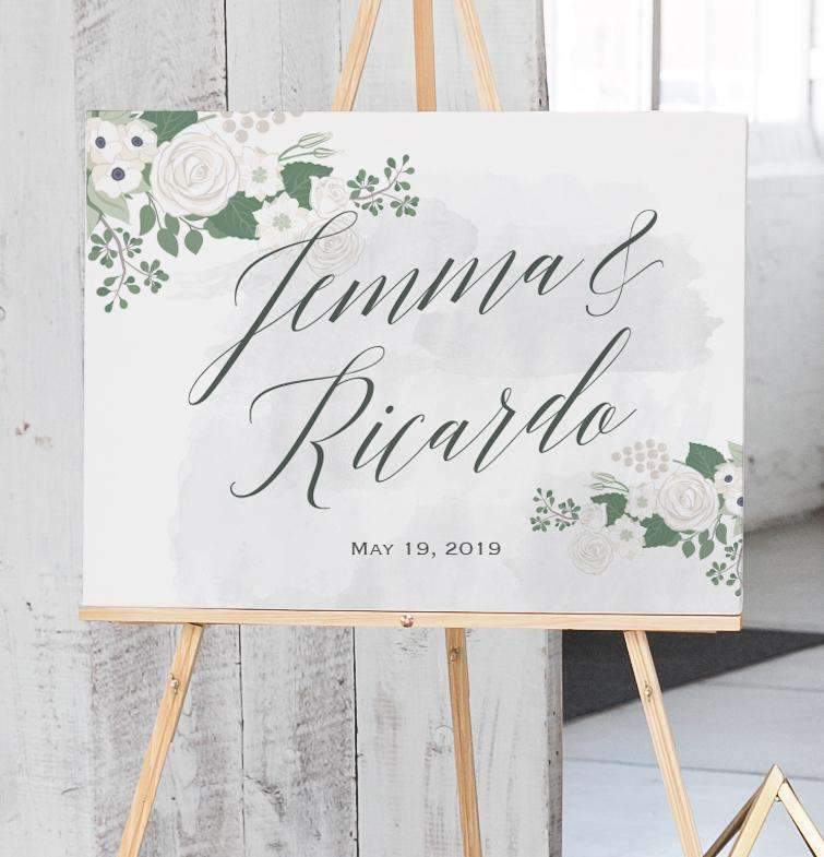 Wedding Welcome Sign.Watercolor And Floral Wedding Welcome Sign The Fleur