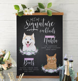 Miss Design Berry Sign Matte Paper / 8x10 Chalkboard Signature Cocktail Sign For Wedding with Two Pet Portraits