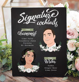 Illustrated Wedding Signature Cocktail Sign