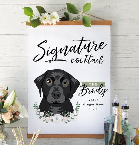 Miss Design Berry Sign Matte Paper / 8x10 Signature Cocktail Wedding Sign with Pet Portrait