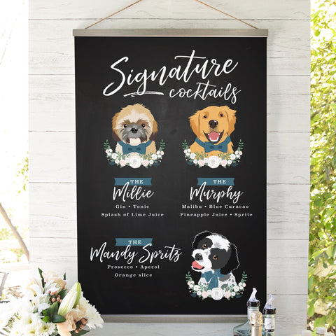 Miss Design Berry Sign Matte Paper / 8x10 Signature Cocktail Wedding Sign with Three Pet Portraits