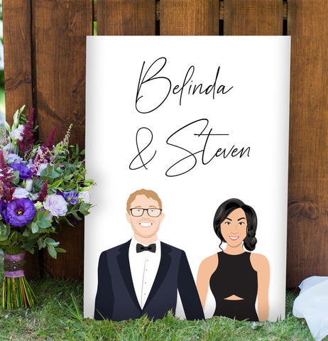 Miss Design Berry Sign Minimal Couple Portrait Wedding Welcome Sign