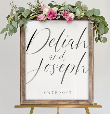 Miss Design Berry Sign Modern Calligraphy Wedding Welcome Sign