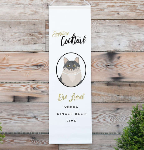 Miss Design Berry Sign Personalized Signature Drink Wedding Banner with Pet Portraits
