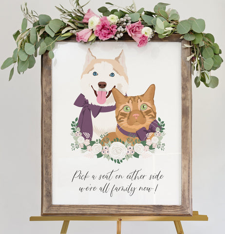Miss Design Berry Sign Pick a Seat Sign For Wedding Ceremony with Pet Portrait