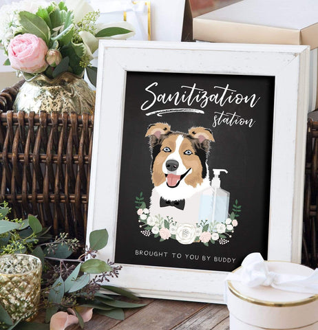 Sanitation Station Chalkboard Sign For COVID Wedding with Pet Portrait Miss Design Berry