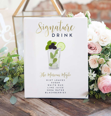 Miss Design Berry Sign Signature Cocktail Sign For Wedding with Illustration for Wedding Bar