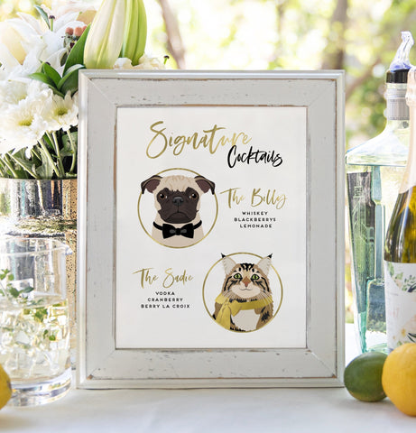 Miss Design Berry Sign Signature Cocktail Wedding Sign - Two Pet Portraits - Classic Modern