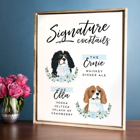 Miss Design Berry Sign Signature Cocktail Wedding Sign - Two Pet Portraits Floral