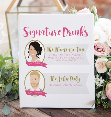 Miss Design Berry Sign Signature Cocktail Wedding Sign - Two Portraits