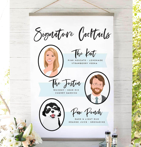 Miss Design Berry Sign Signature Cocktail Wedding Sign with Couple + Pet Portrait