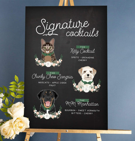 Miss Design Berry Sign Signature Cocktail Wedding Sign with Three Pet Portraits