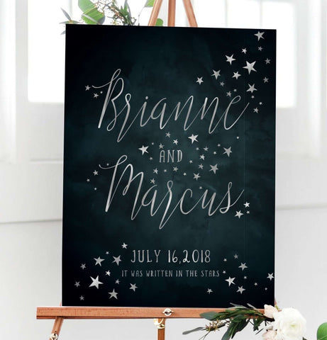 Wedding Welcome Sign.Starry Night Sky Celestial Wedding Welcome Sign