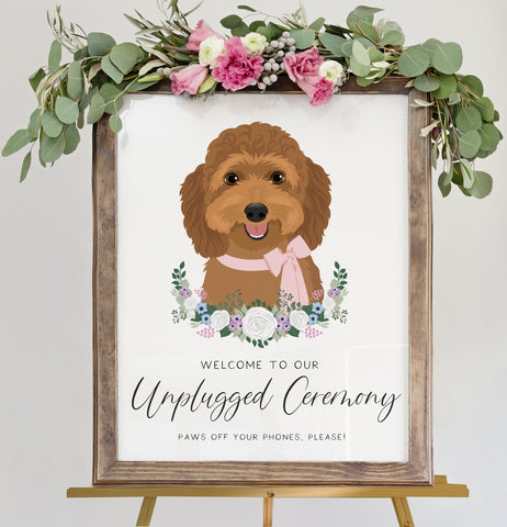 Miss Design Berry Sign Unplugged Ceremony Sign For Wedding with Pet Portrait