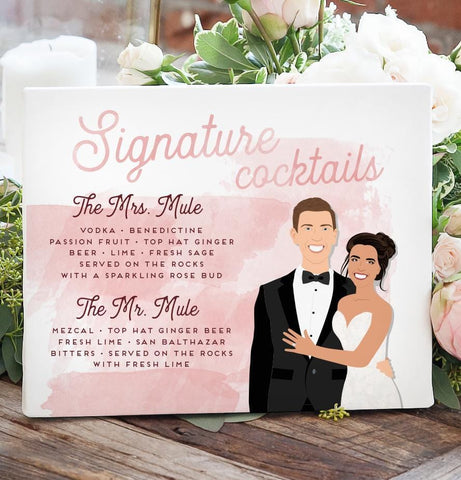 Miss Design Berry Sign Watercolor Signature Cocktail Sign with Bride and Groom Portrait