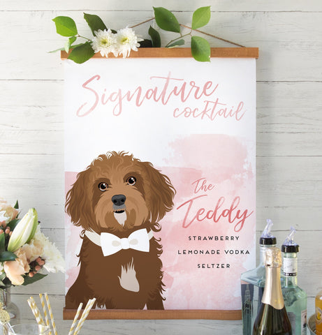 Miss Design Berry Sign Watercolor Signature Cocktail Sign with Pet Portrait - Limited Edition