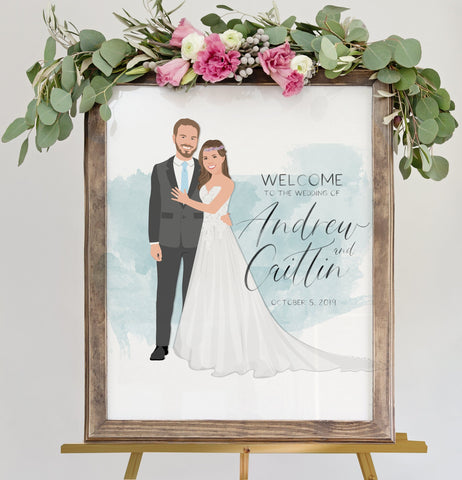Miss Design Berry Sign Watercolor Wedding Welcome Sign with Portrait