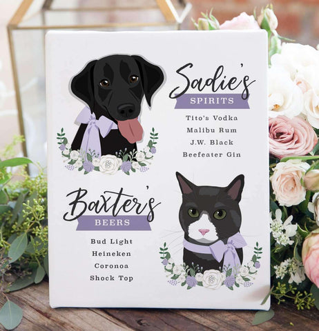 Miss Design Berry Sign Wedding Bar Menu Sign with Two Pet Portraits