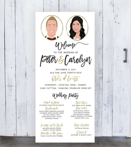 Miss Design Berry Sign Wedding Program Sign on Large Canvas