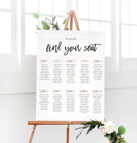 Wedding seating chart sign the penny