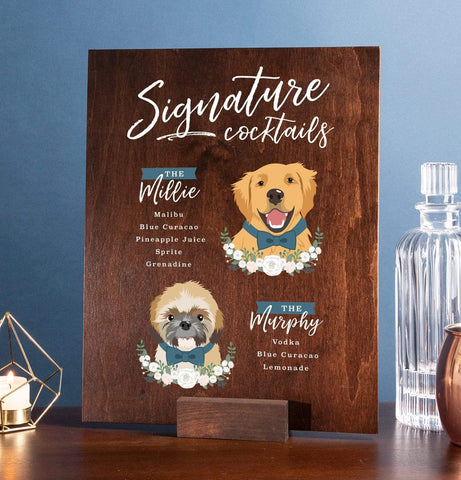 Miss Design Berry Sign Wood Signature Cocktail Wedding Sign - Two Pet Portraits