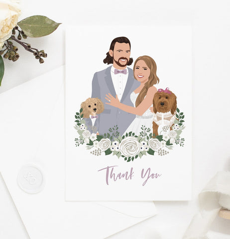 Miss Design Berry thank you cards Thank You Cards with Wedding Portrait