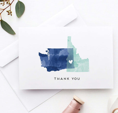 Miss Design Berry thank you cards Watercolor Wedding Thank You Cards - StateLove