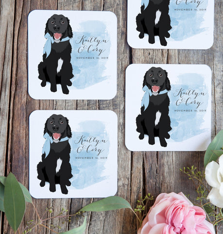 Miss Design Berry Watercolor Pet Portrait Cocktail Coasters