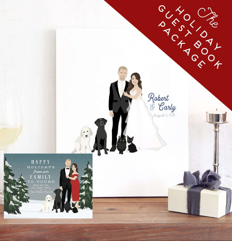 Miss Design Berry Wedding Bundle Copy of Holiday Guest Book Canvas Alternative Package with Card