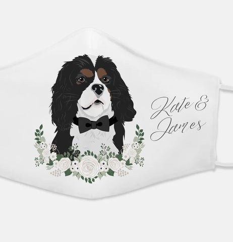 Miss Design Berry Wedding Face Mask with Pet Portrait