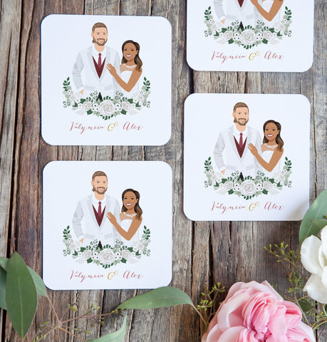 Miss Design Berry Wedding Portrait Cocktail Coasters