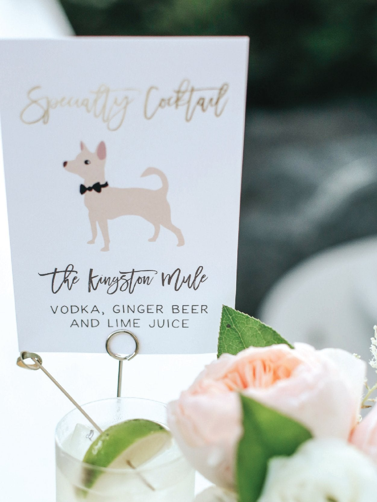 wedding signature drink sign with dog illustration
