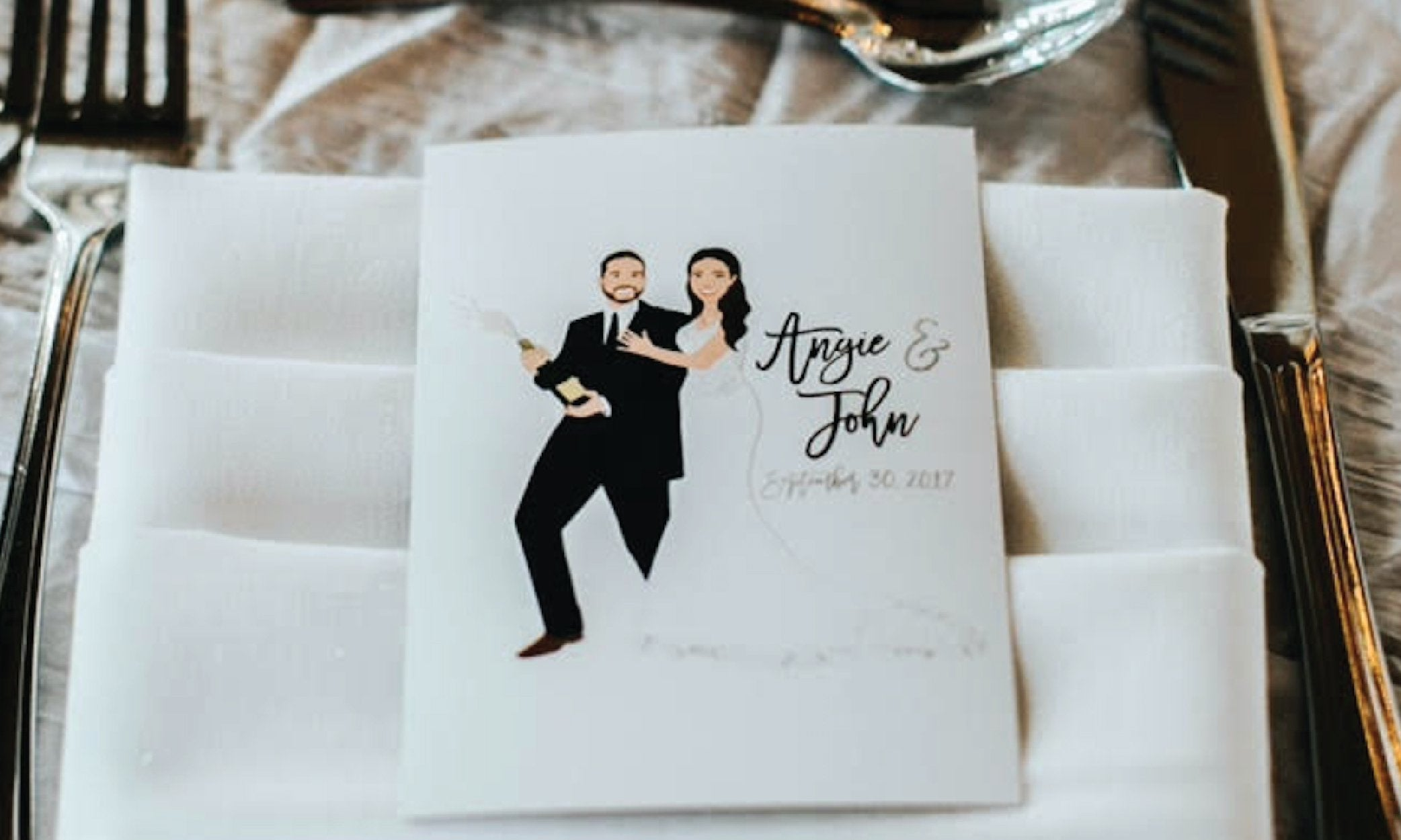 Wedding Thank you Cards with Couple Portrait