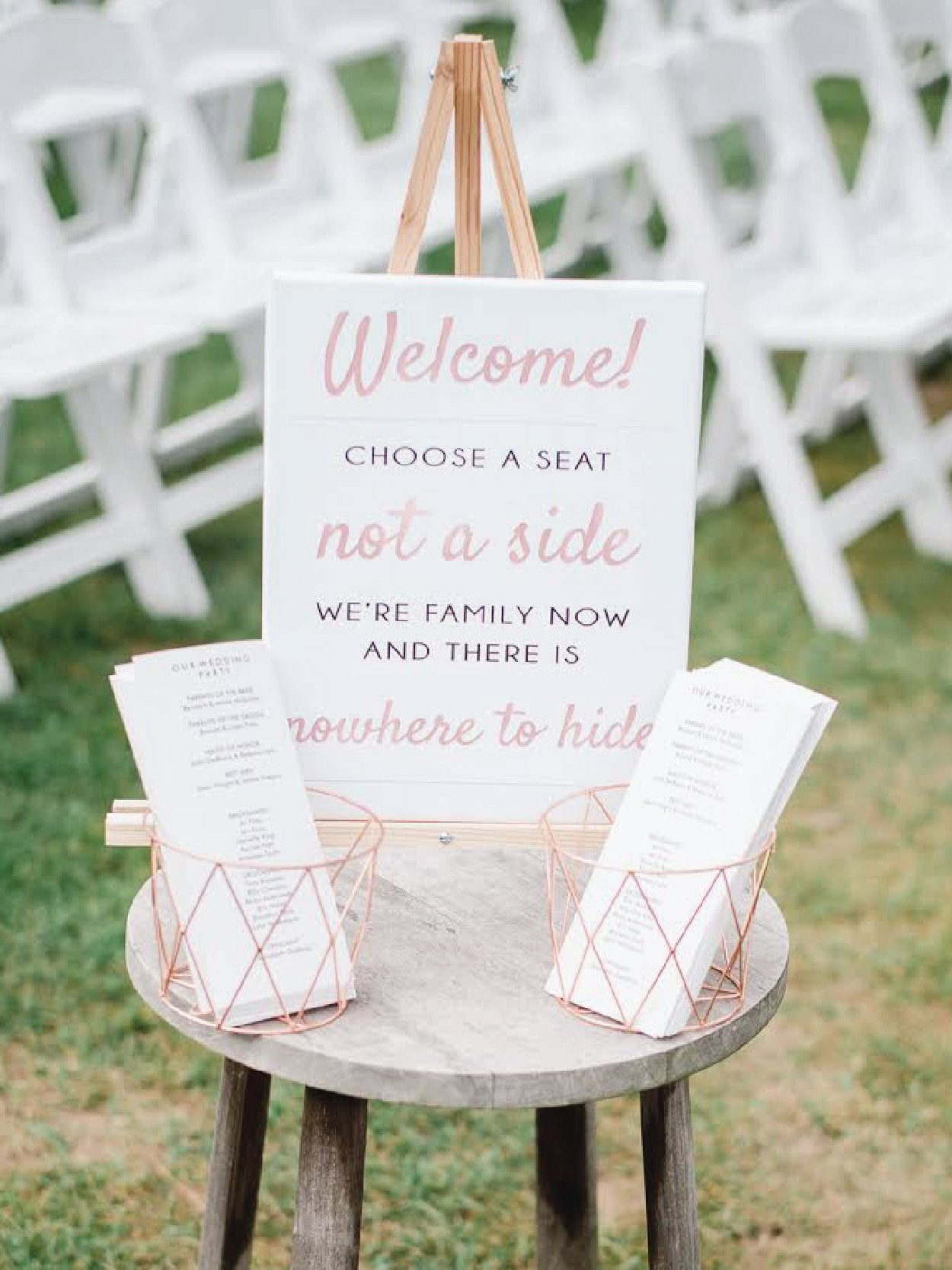Funny wedding seating sign