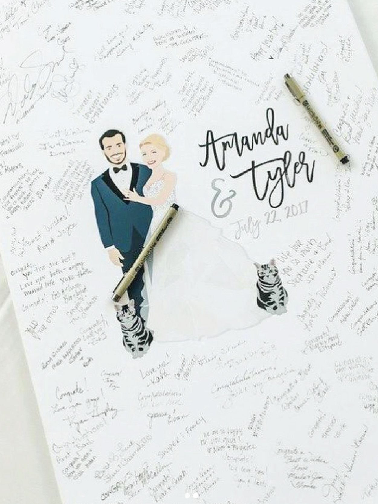Guest Book Alternative with Wedding Portrait and Guest Signatures