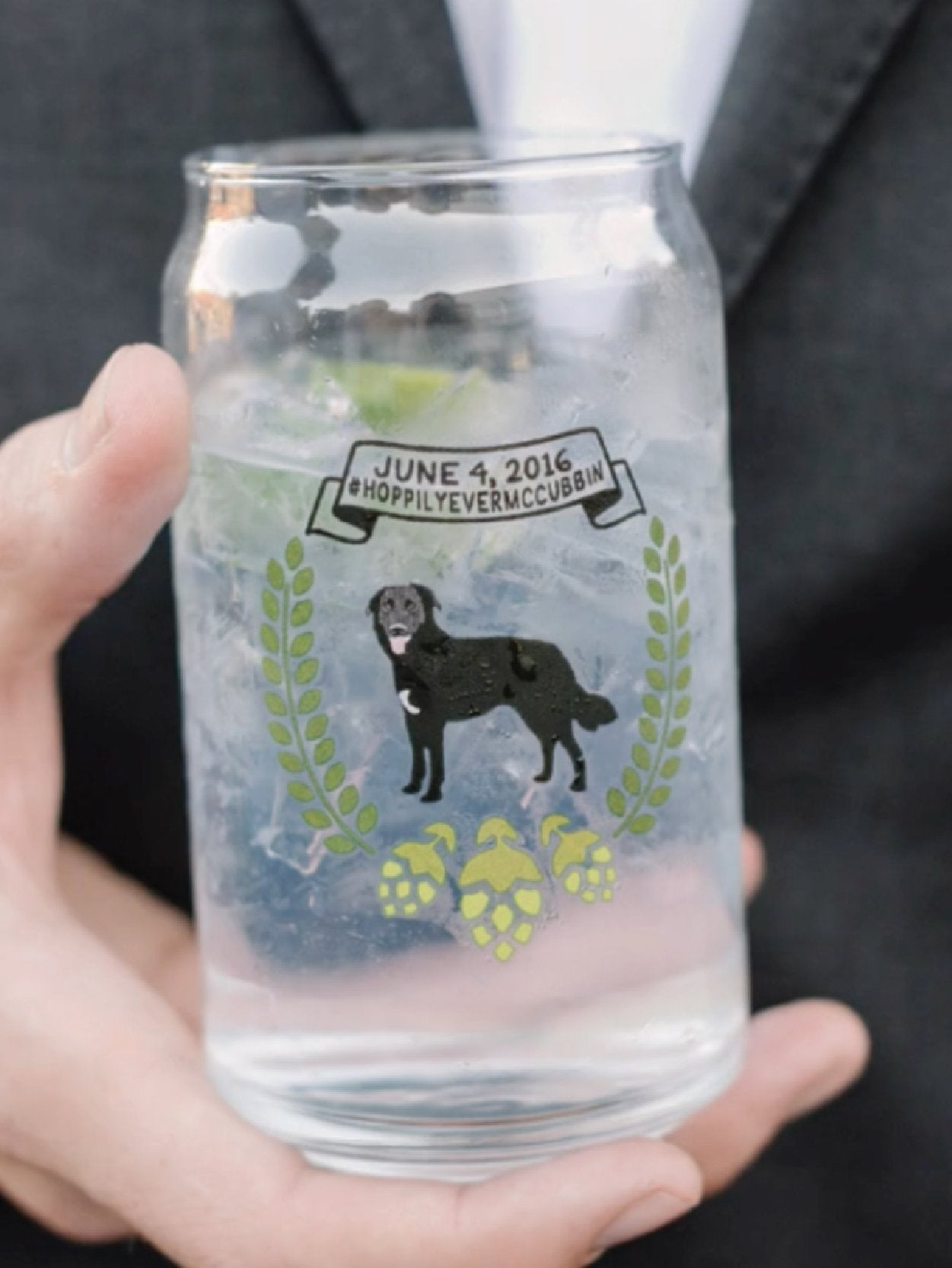 Custom wedding logo with dog for wedding pint glasses