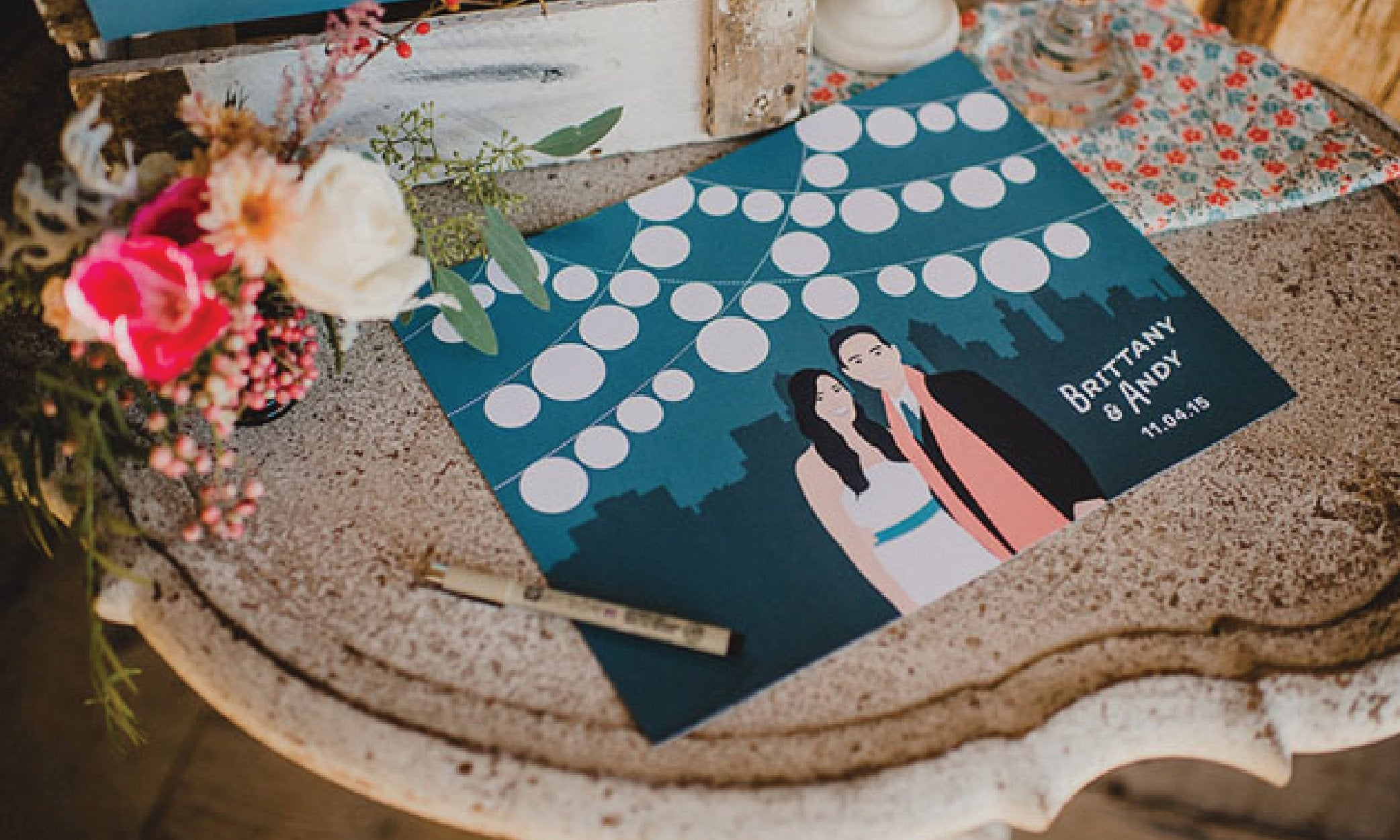Portrait wedding guest book alternative