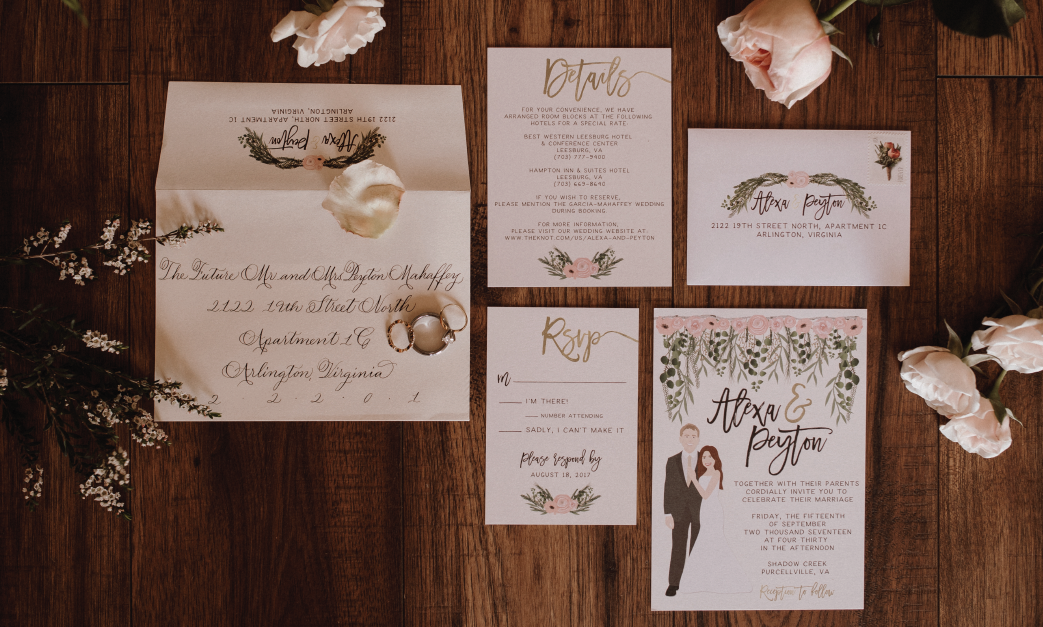 Custom wedding invitation suite with Wedding Portrait