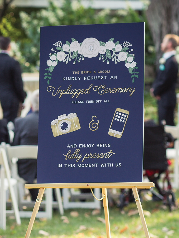 Navy and Gold Unplugged Wedding Sign