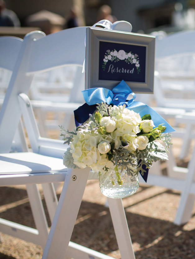 Navy and Gold Reserved Seating Sign for Wedding