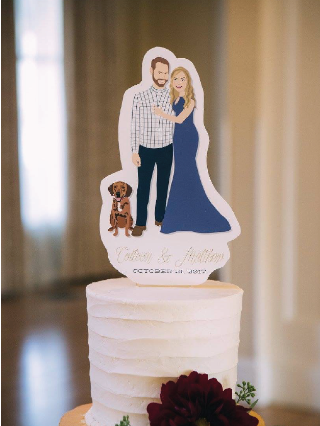 Wedding Cake Topper with Couple Portrait and Dog