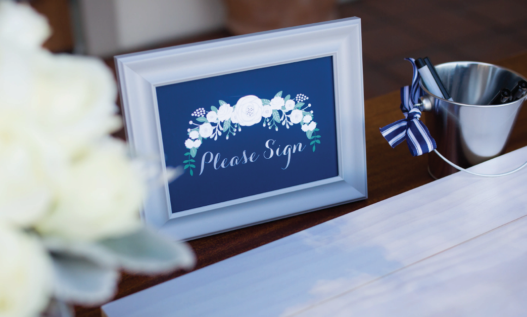 Navy and Gold Guest Book Sign