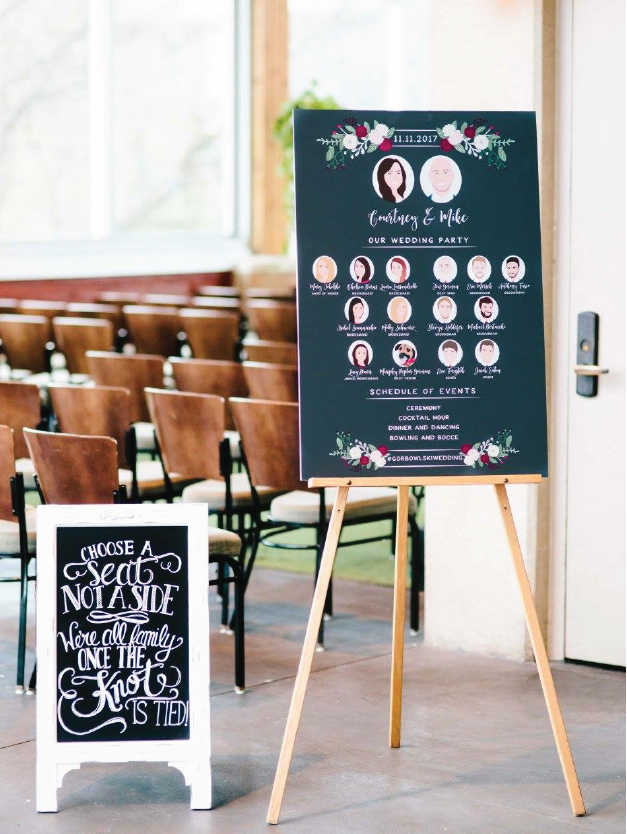 Wedding Program Sign with Bridal Party Portraits