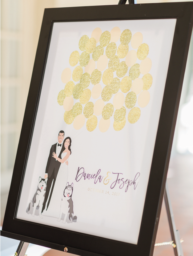 Wedding Guest Book Alternative in Yellow with Couple Portrait and Balloons