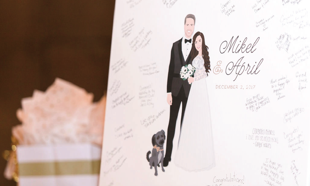 Wedding guest book canvas close up with guest signatures