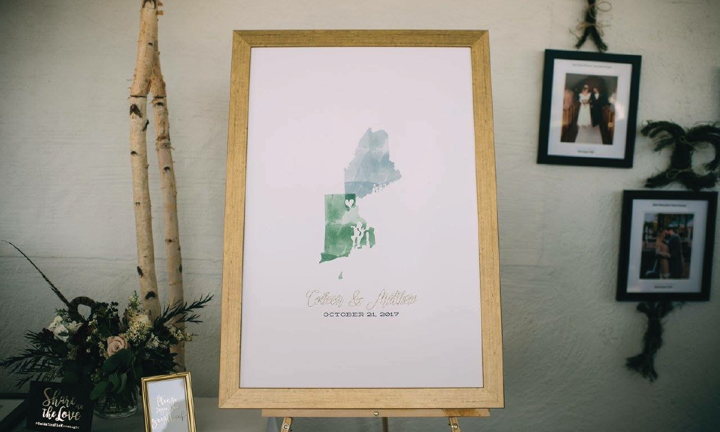 Watercolor wedding map guest book at wedding reception