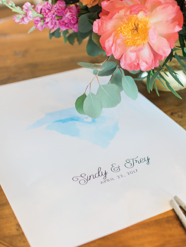 watercolor wedding guest book with map