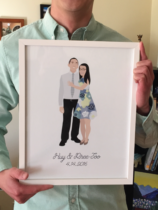 Custom couple portrait illustration gift