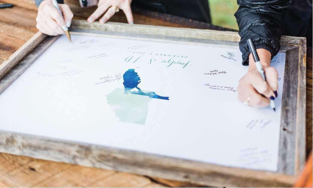 Rustic wood guest book alternative with map